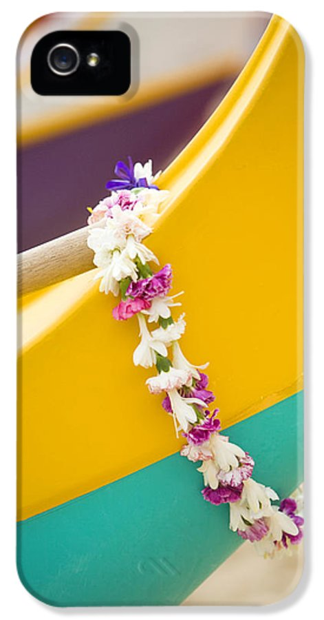 Akau IPhone 5 Case featuring the photograph Lei Draped Over Outrigger by Dana Edmunds - Printscapes