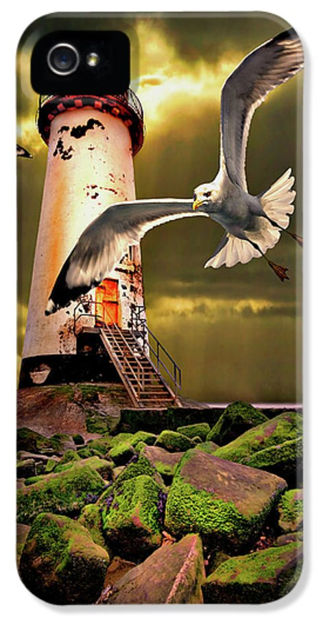 Lighthouse IPhone 5 Case featuring the photograph Lighthouse With Seagulls by Meirion Matthias