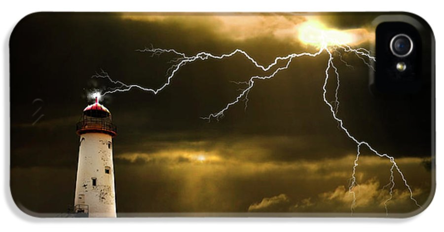Lighthouse IPhone 5 Case featuring the photograph Lightning Storm by Meirion Matthias