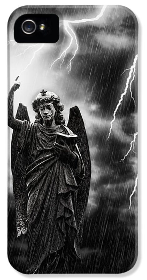 Religion IPhone 5 Case featuring the photograph Lightning Strikes The Angel Gabriel by Amanda Elwell