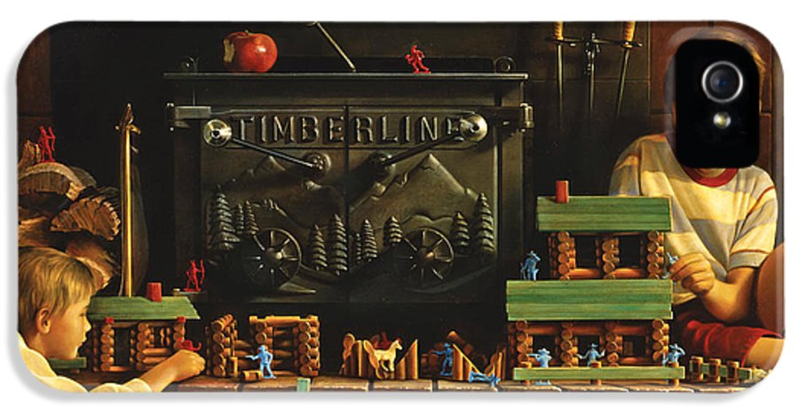 Fireplace IPhone 5 Case featuring the painting Lincoln Logs by Greg Olsen