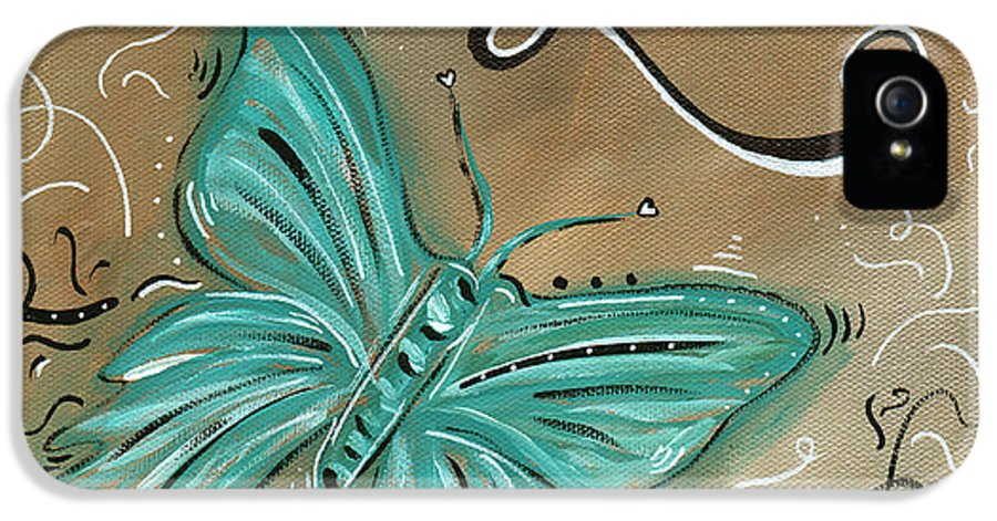 Abstract IPhone 5 Case featuring the painting Live And Love Butterfly By Madart by Megan Duncanson
