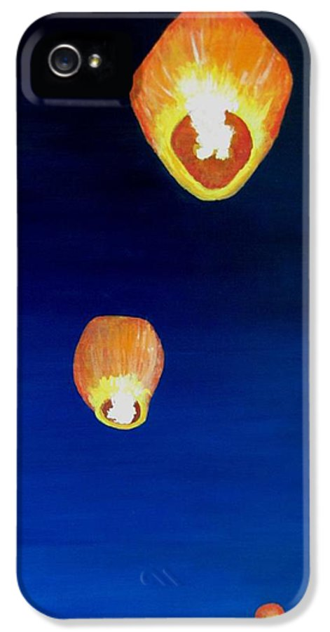 Chinese Lanterns IPhone 5 Case featuring the painting Lorraine's Lanterns by Jack Skinner