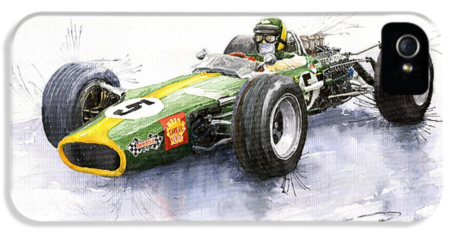 Watercolour IPhone 5 Case featuring the painting Lotus 49 Ford F1 Jim Clark by Yuriy Shevchuk