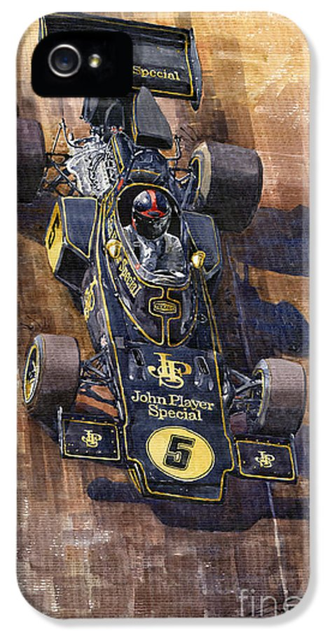 Watercolour IPhone 5 Case featuring the painting Lotus 72 Canadian Gp 1972 Emerson Fittipaldi by Yuriy Shevchuk