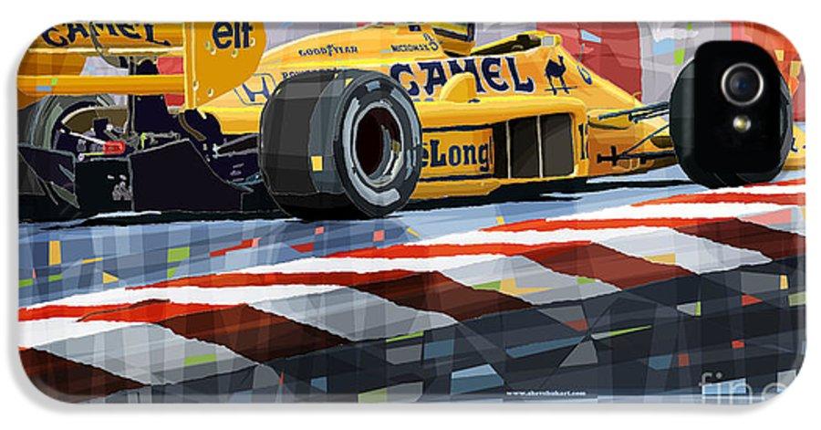 Automotive IPhone 5 Case featuring the digital art Lotus 99t 1987 Ayrton Senna by Yuriy Shevchuk