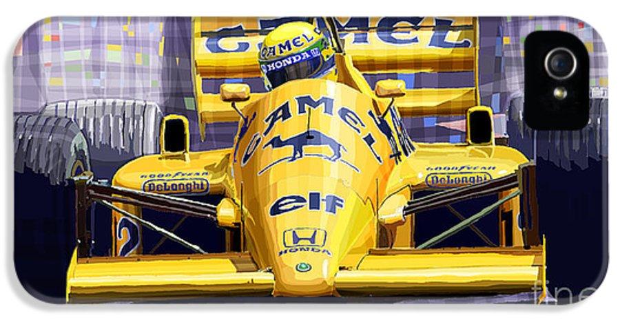 Automotive IPhone 5 Case featuring the digital art Lotus 99t Spa 1987 Ayrton Senna by Yuriy Shevchuk