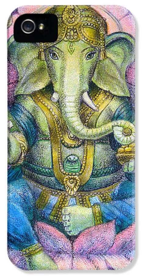 Lord Ganesha IPhone 5 Case featuring the painting Lotus Ganesha by Sue Halstenberg