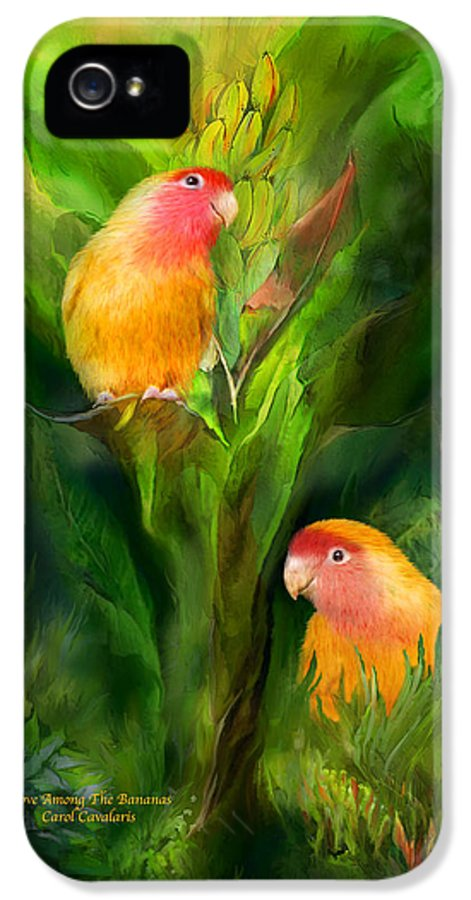 Lovebird IPhone 5 Case featuring the mixed media Love Among The Bananas by Carol Cavalaris