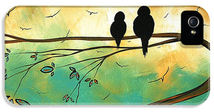 Art IPhone 5 Case featuring the painting Love Birds By Madart by Megan Duncanson