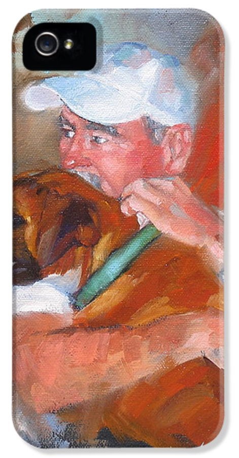 Oil Painting IPhone 5 Case featuring the painting Loving Roxie by Laura Lee Zanghetti