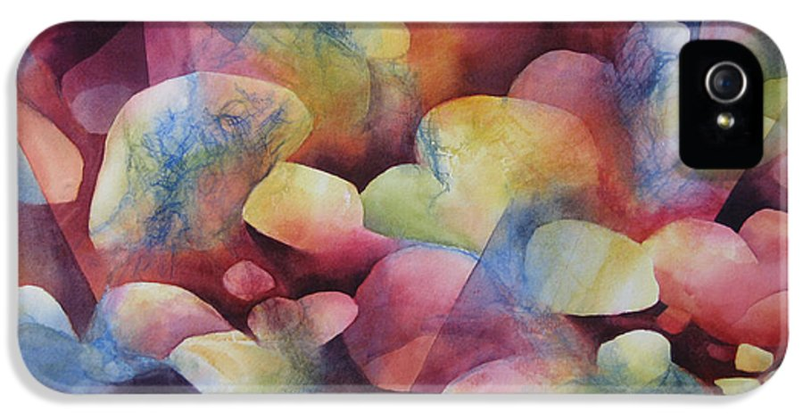 Abstract IPhone 5 Case featuring the painting Luminosity by Deborah Ronglien