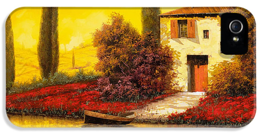 Landscape IPhone 5 Case featuring the painting Lungo Il Fiume Tra I Papaveri by Guido Borelli