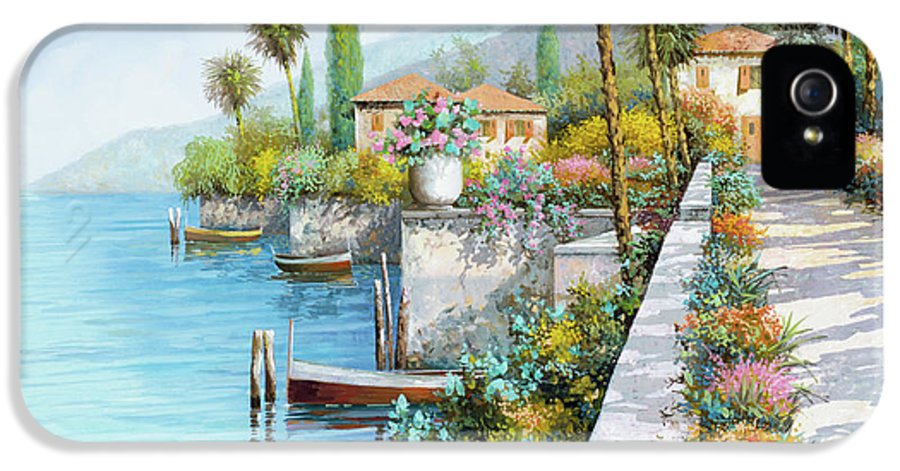 Lake IPhone 5 Case featuring the painting Lungolago by Guido Borelli