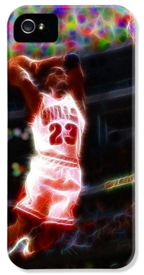 Michael Jordan IPhone 5 Case featuring the painting Magical Michael Jordan White Jersey by Paul Van Scott