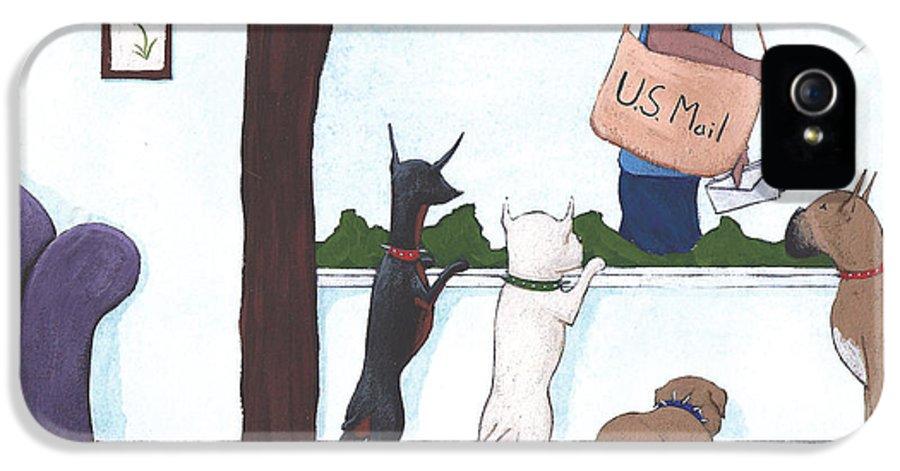 Dogs IPhone 5 Case featuring the painting Mailman by Christy Beckwith