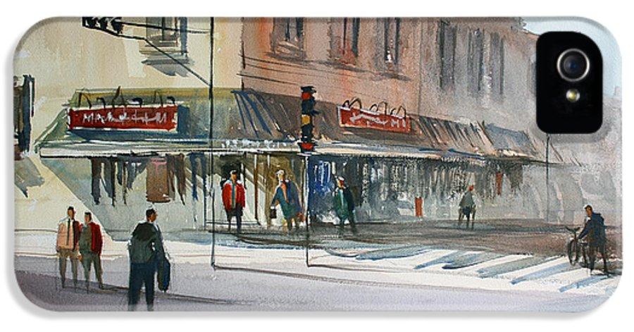 Street Scene IPhone 5 Case featuring the painting Main Street Marketplace - Waupaca by Ryan Radke