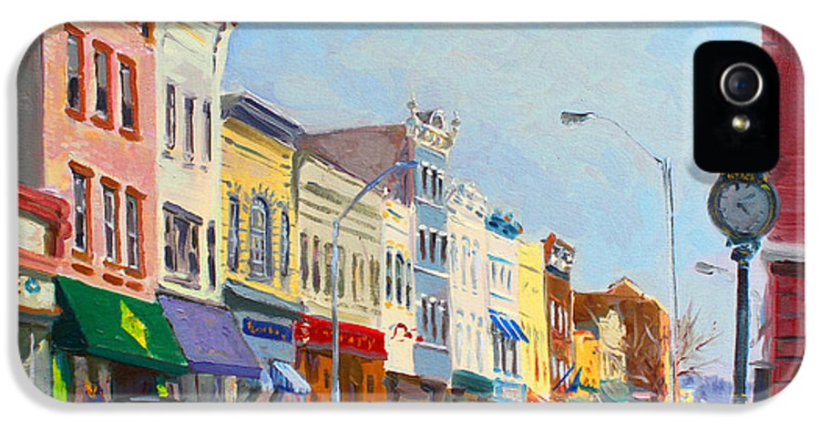 Main Street IPhone 5 Case featuring the painting Main Street Nayck Ny by Ylli Haruni