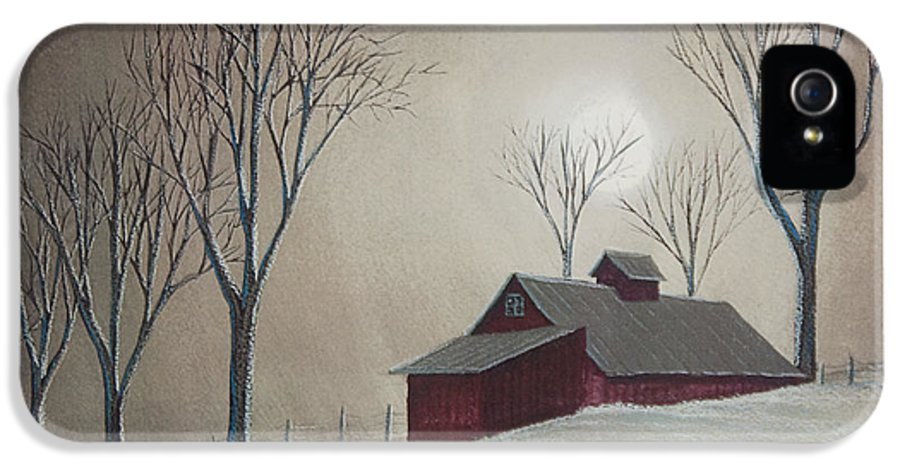 Winter Scene Paintings IPhone 5 Case featuring the painting Majestic Winter Night by Charlotte Blanchard