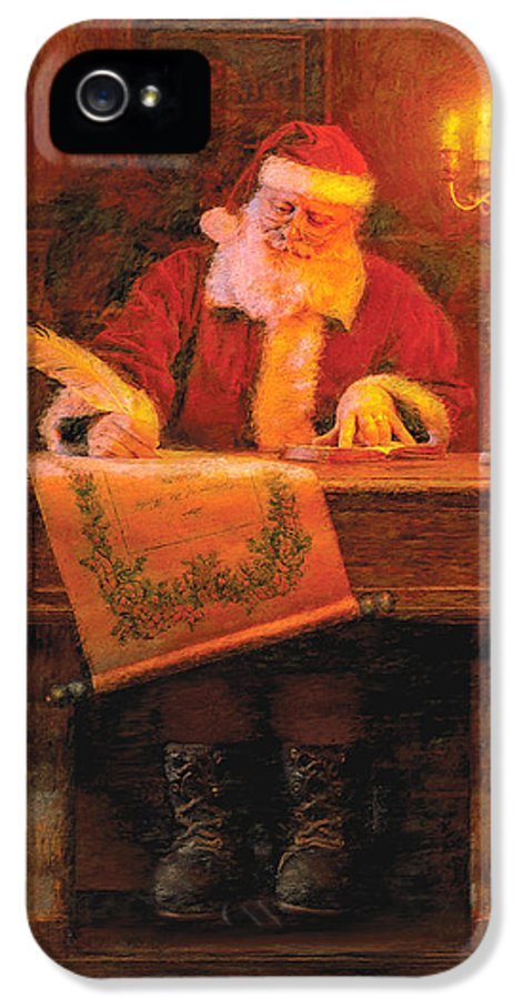 Christmas IPhone 5 Case featuring the painting Making A List by Greg Olsen