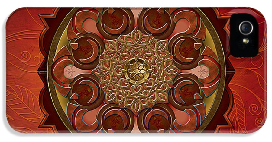 Mandala IPhone 5 / 5s Case featuring the digital art Mandala Flames Sp by Bedros Awak