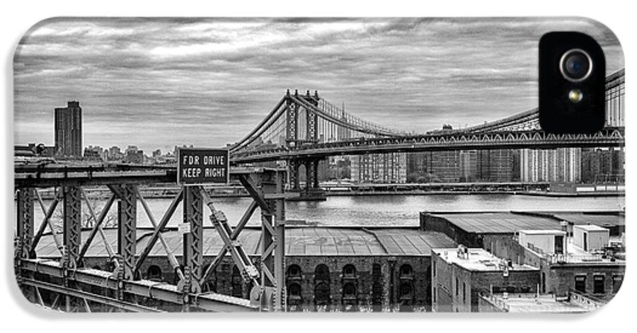 Cities IPhone 5 Case featuring the photograph Manhattan Bridge by John Farnan