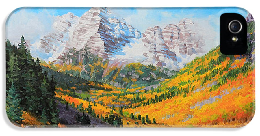 Snowy Maroon Bells Golden Aspen Forest Tree IPhone 5 / 5s Case featuring the painting Maroon Bells by Gary Kim