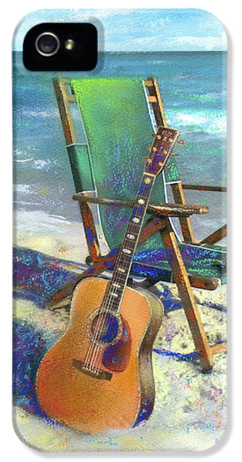 Guitar IPhone 5 Case featuring the painting Martin Goes To The Beach by Andrew King