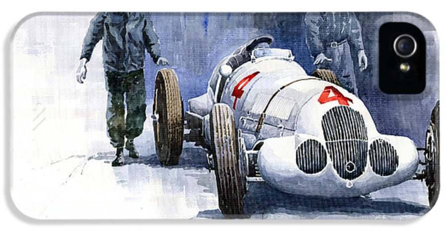 Automotive IPhone 5 Case featuring the painting Mb W125 Gpcar 1937 by Yuriy Shevchuk