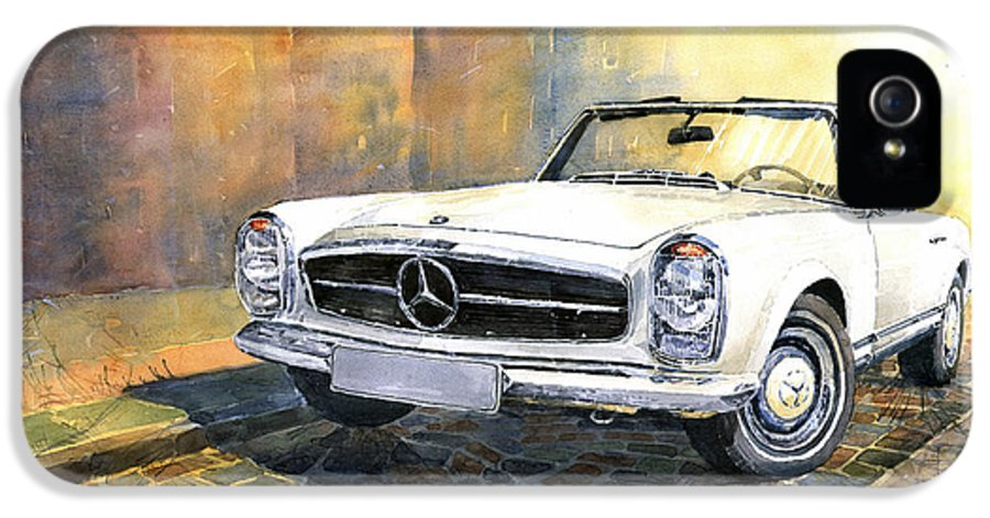 Auto IPhone 5 Case featuring the painting Mercedes Benz W113 280 Sl Pagoda Front by Yuriy Shevchuk