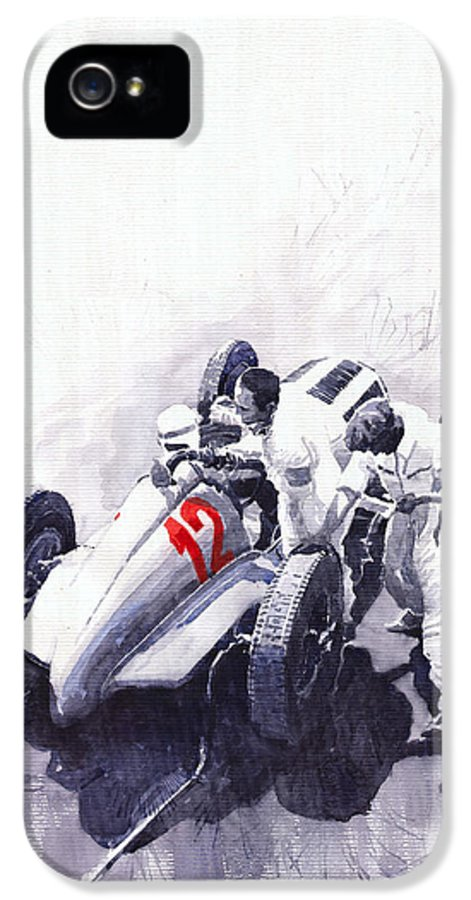 Automotive IPhone 5 Case featuring the painting Mercedes Benz W125 Rudolf Caracciola The German Grand Prix Nurburgring 1937 by Yuriy Shevchuk