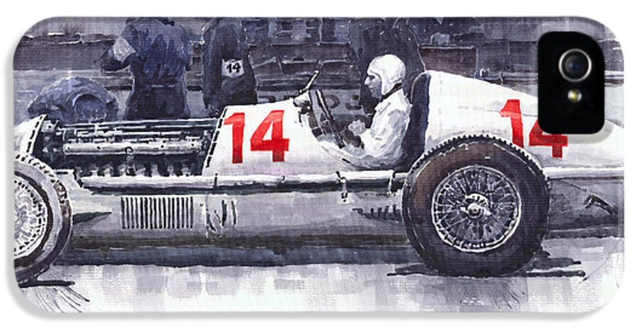 Automotive IPhone 5 Case featuring the painting Mercedes W25c Monaco Gp 1936 Manfred Von Brauchitsch by Yuriy Shevchuk