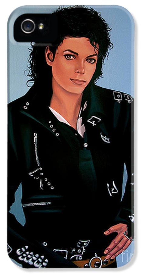 Michael Jackson IPhone 5 Case featuring the painting Michael Jackson Bad by Paul Meijering