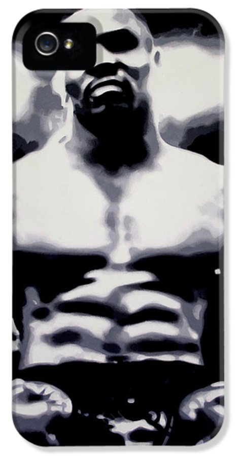 Michael Gerard mike Tyson IPhone 5 Case featuring the painting Mike Tyson by Luis Ludzska