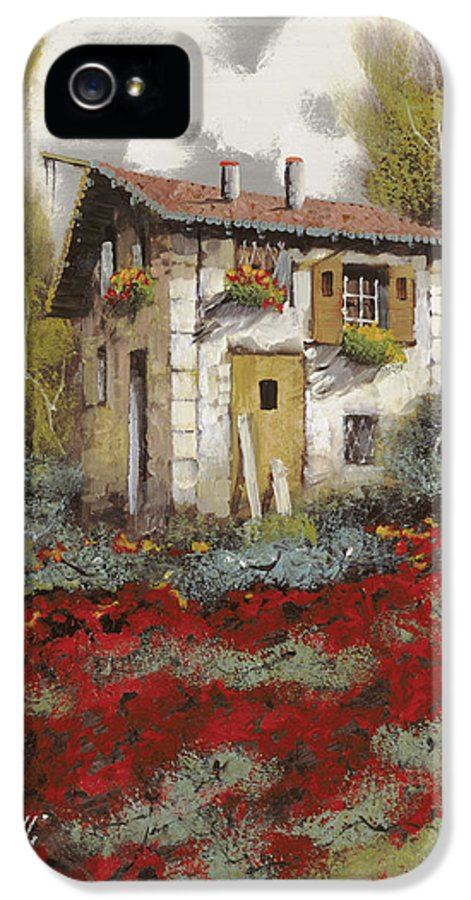 Landscape IPhone 5 Case featuring the painting Mille Papaveri by Guido Borelli