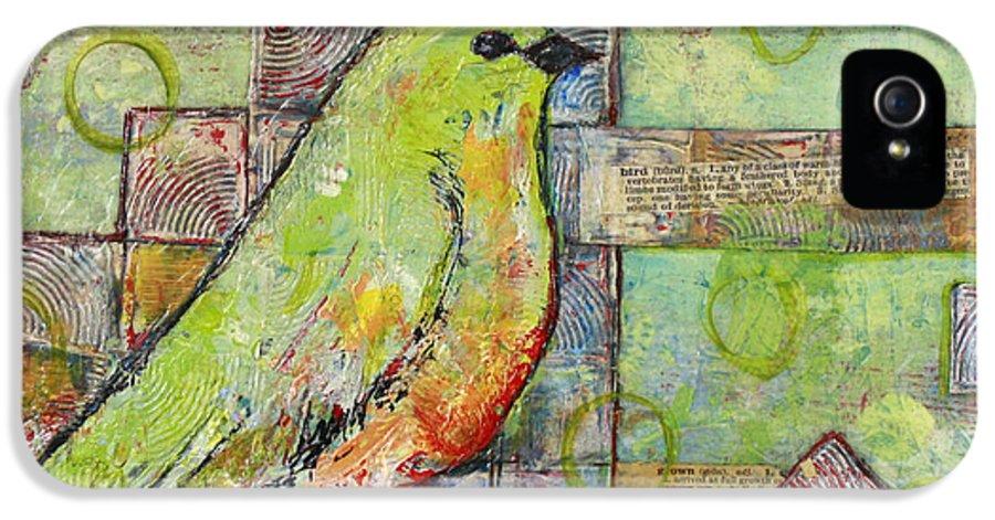 Bird IPhone 5 Case featuring the painting Mint Green Bird Art by Blenda Studio
