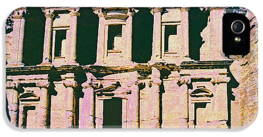 Monastery At Petra IPhone 5 Case featuring the mixed media Monastery At Petra by Dominic Piperata