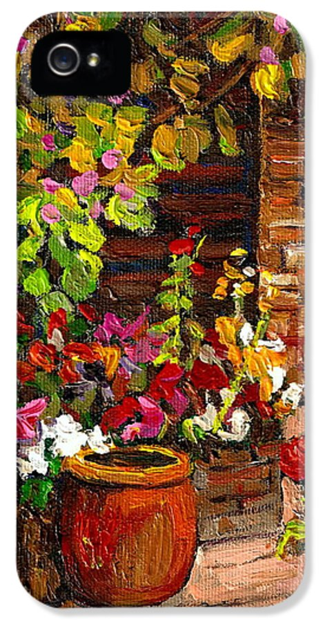 Montreal IPhone 5 Case featuring the painting Montreal Cityscenes Homes And Gardens by Carole Spandau