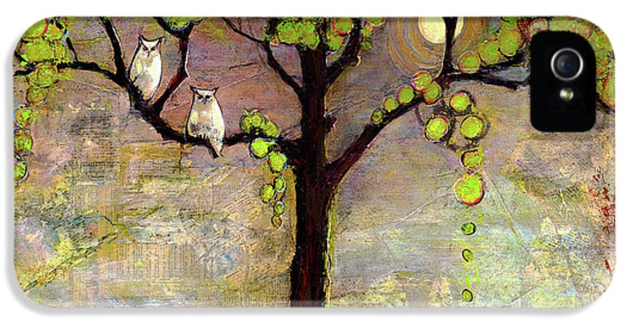 Paintings IPhone 5 Case featuring the painting Moon River Tree Owls Art by Blenda Studio