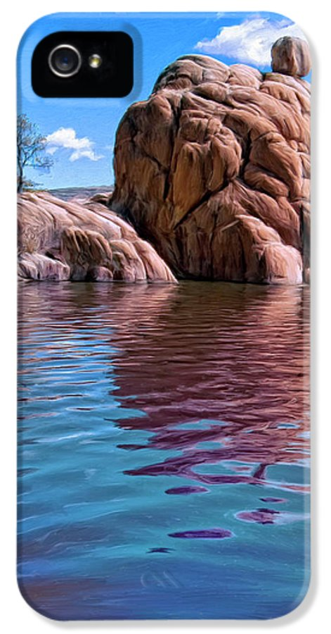 Morning At Watson Lake IPhone 5 / 5s Case featuring the painting Morning At Watson Lake by Dominic Piperata
