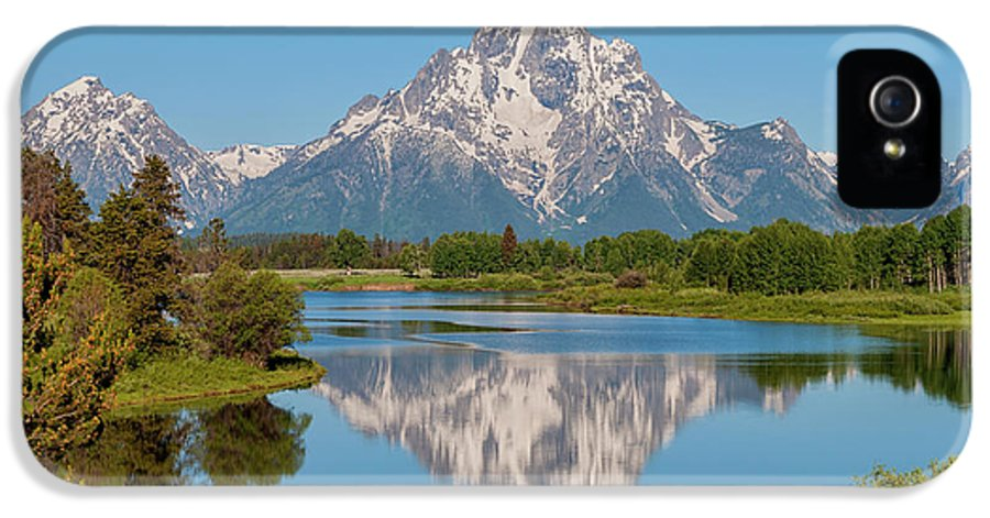 Mount Moran IPhone 5 Case featuring the photograph Mount Moran On Snake River Landscape by Brian Harig
