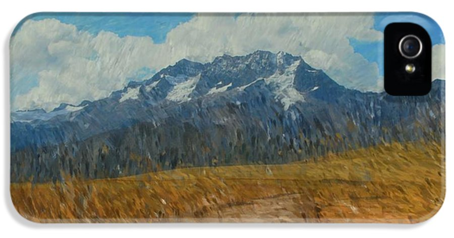 Abstract Digital Painting IPhone 5 Case featuring the photograph Mountains In Puru by David Lane