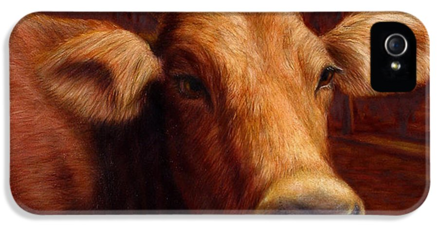 Cow IPhone 5 Case featuring the painting Mrs. O'leary's Cow by James W Johnson