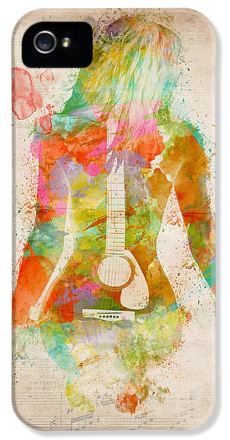 Guitar IPhone 5 Case featuring the digital art Music Was My First Love by Nikki Marie Smith