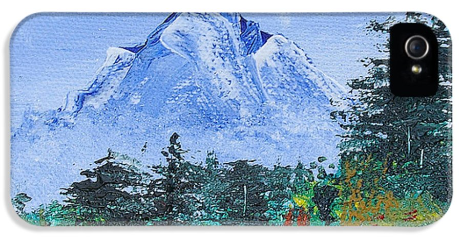 Nature IPhone 5 Case featuring the painting My Mountain Wonder by Jera Sky
