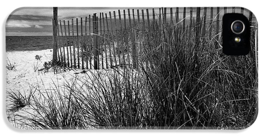 Black And White IPhone 5 Case featuring the photograph Nantucket Harbor Beach Dunes by Thomas Schoeller