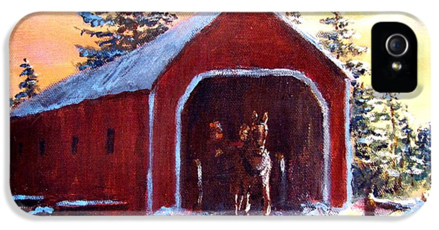 Winter Scene IPhone 5 Case featuring the painting New England Winter Crossing by Jack Skinner