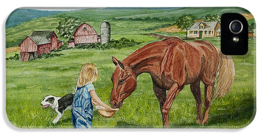 Country Kids Art IPhone 5 Case featuring the painting New Friends by Charlotte Blanchard
