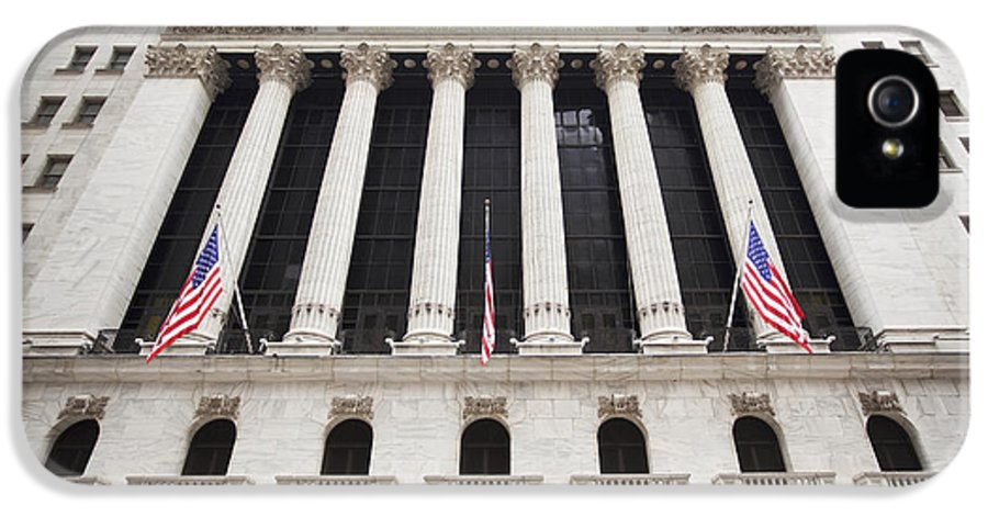 American Flags IPhone 5 Case featuring the photograph New York Stock Exchange by Bryan Mullennix