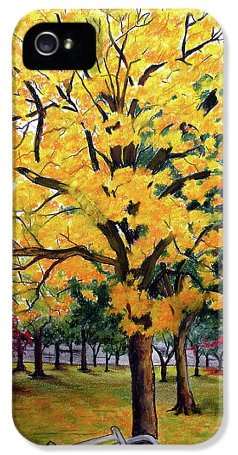 Yellow Poui IPhone 5 Case featuring the pastel North Savannah Poui by Karin Dawn Kelshall- Best